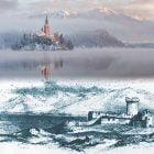 Sopra: Lago di Bled (Slovenia) Sotto: dipinto di Edward Lear